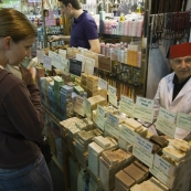 Lisa smelling soap in the Spice Bazaar