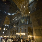 The main hall and dome inside Aya Sofya
