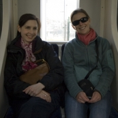 Sally and Lisa on the light rail on the way to Istiklal Caddesi