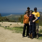 Lisa, Sam, Sally and ET at Chunuk Bair with the Gallipoli Peninsula in the background