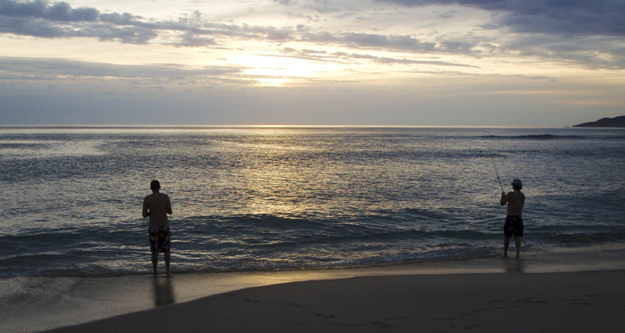 Sam and Chris fishing at Johanna Beach