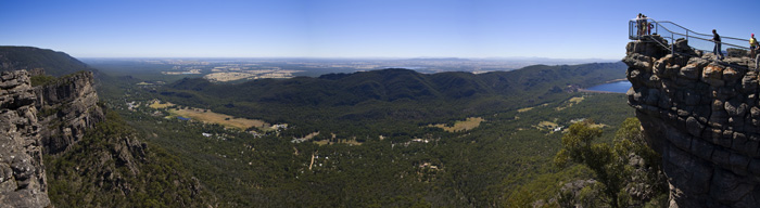 Panorama of (right to left) The Pinnacle, Lake Bellfield, Halls Gap and farmland in the distance