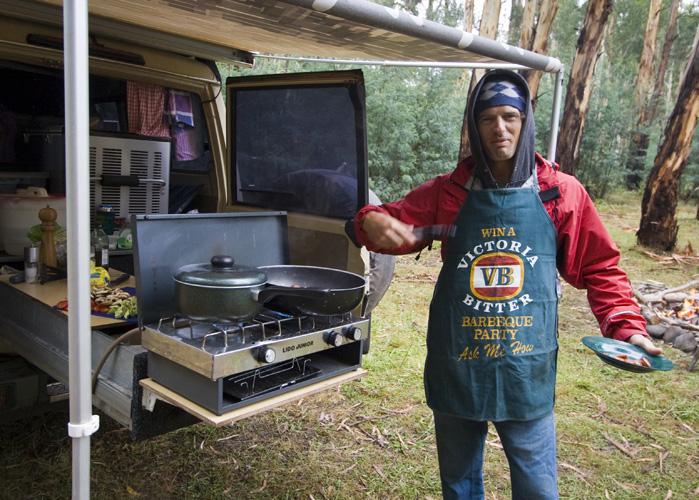 Chris cooking up a storm at our Wonnongatta River campsite