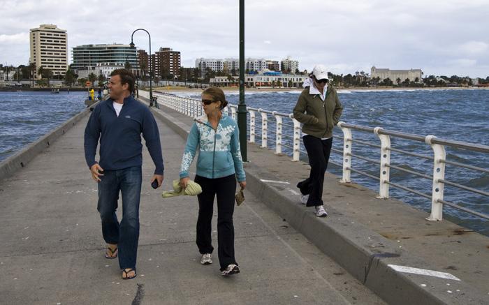 Ben, Lisa and Bronte on Saint Kilda Pier