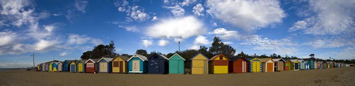 Panorama of the Brighton beach huts