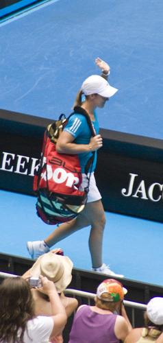 Justine Henin entering the Hisense Arena