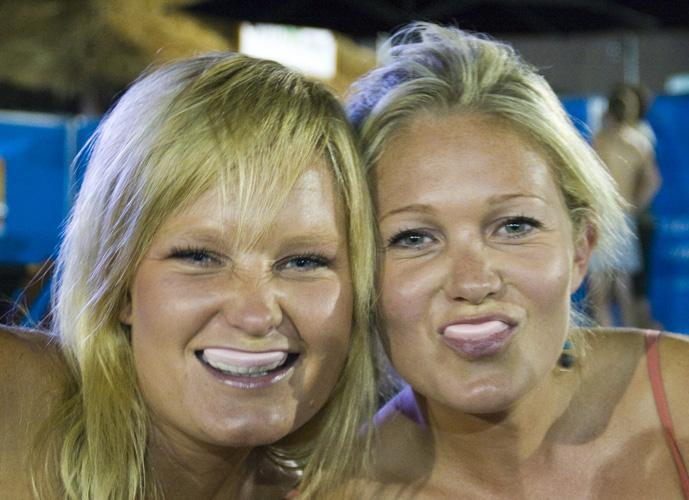 Stacey and her sister in the Heiniken Beer Garden