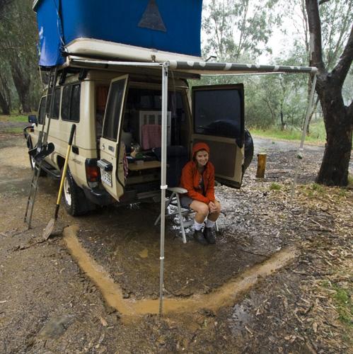 Camping in the rain near Milawa