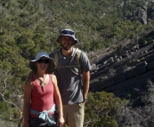 Sam and Lisa hiking to The Pinnacles