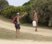 Sam and Chris heading off for an evening of fishing at Johanna Beach