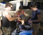 Chris, Lisa and Gina attacking the dishes at Smith Mill campsite