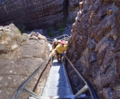 Gina climbing out of Grand Canyon on the way to The Pinnacles