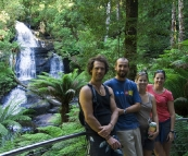 Chris, Sam, Lisa and Gina in front of Triplet Falls