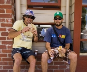 Chris and Sam enjoying a couple of pasties from the bakery in Apollo Bay