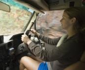 Lisa piloting The Tank along Brocks Road