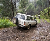 The Tank and Bessie tackling some steep, wet terrain along the King Billy Track