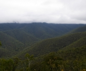 View of the Victorian Alps and low-hanging cloud from the Wombat Spur Track