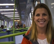 Lisa on the train into the city