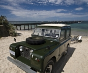 An awesome Land Rover on the beach at Flinders