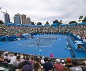 Rameez Junaid and Peter Luczak playing Philipp Marx and Igor Zelenay in the Margaret Court Arena