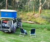 Camping by the Franklin River near Toora