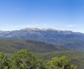 View of the mountains looking up toward Mount Kosciuszko