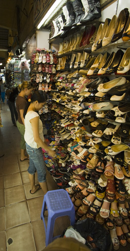 Lisa in shoe heaven in Ben Tanh Market