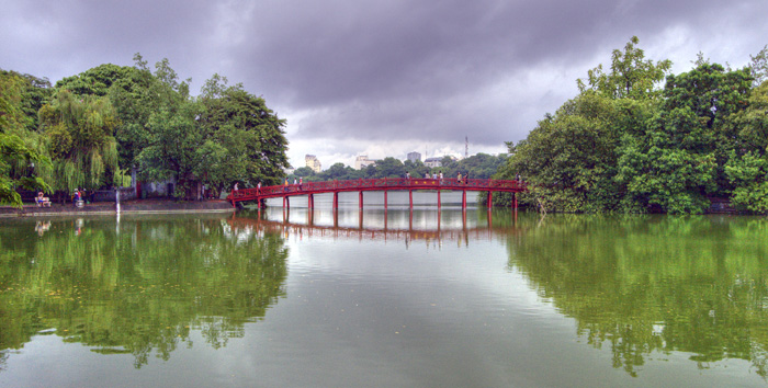 The brige to Ngoc Son Temple across Hoan Kiem Lake in central Hanoi