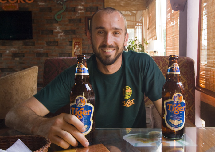 Sam enjoying a few Tiger beers at our favorite spot in central Hanoi: Gecko Cafe