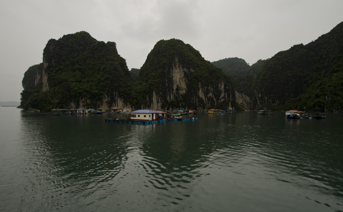 One of the many floating villages in Halong Bay