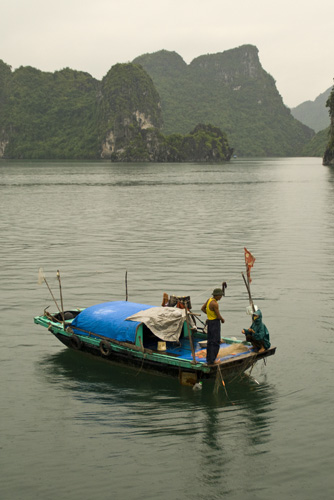 Local fishermen in Halong Bay