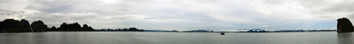 Panoramic view of Halong City as we chug back into the harbor