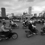 A myriad of scooters in front of Ben Tanh Market