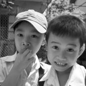 School boys on their way home in Hoi An