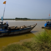 Fishing boats in the river at Tanh Ha