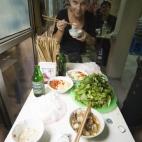 Lisa enjoying lunch at Bung Cha Hang Manh
