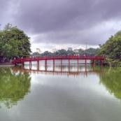 The brige to Ngoc Son Temple across Hoan Kiem Lake in central Hanoi