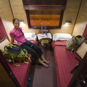 Lisa in our train cabin on the way from Hanoi to Lao Cai