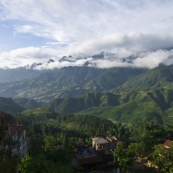 The view of the mountains from our hotel balcony