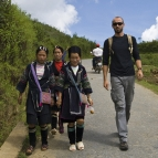 Sam with Mi (our guide) and a couple of other H'Mong girls on the way to Cat Cat Village