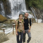Sam and Lisa in front of Cat Cat Falls