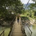 Walking across the valley to Mi's village