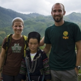 Lisa, Mi (our guide) and Sam after approximately 12 kilometers of walking