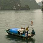 Local fishermen in Halong Bay