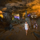 Lisa in Hang Thien Cung cave in one of the islands of Halong Bay