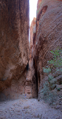 Lisa dwarfed by the walls of Echidna Chasm