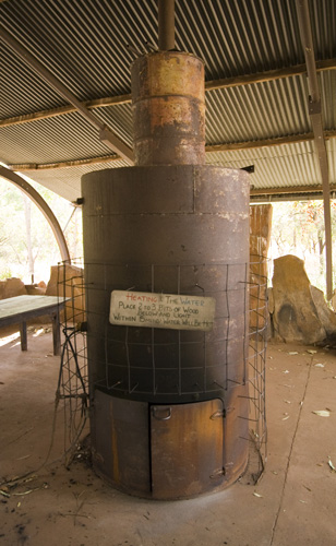 An old donkey to heat the shower water at Elenbrae Station