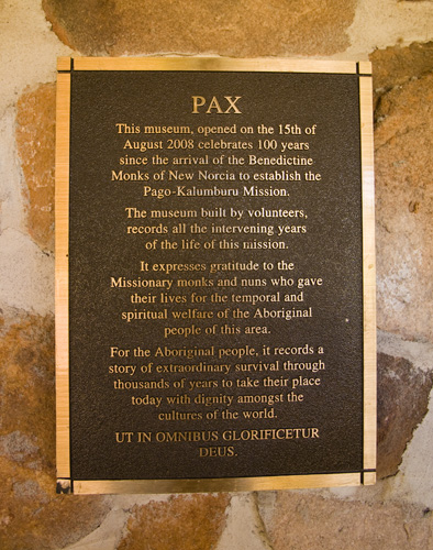 The dedication plaque outside the Kalumburu Mission museum
