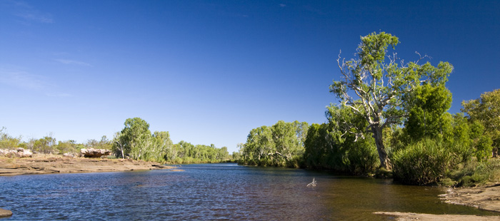 The King Edward River in front of our campsite
