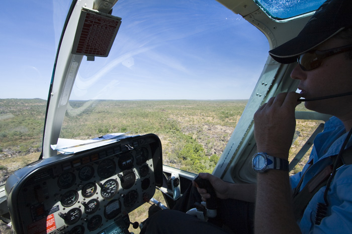 Cockpit view in our helicopter at Mitchell Falls